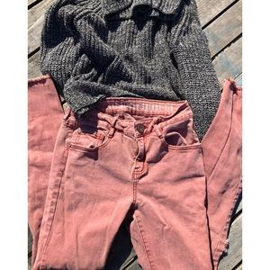 3 for $18/The Ripped Skinny 7/8 Faded Red Jeans